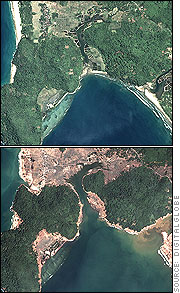 Satellite images of December 2004 tsunami devastation. Before (April 12, 2004) and after (January 2, 2005) comparision photographs of Banda Aceh, North Sumatra, Indonesia.