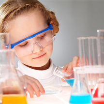 Women in STEM girl doing science experiment