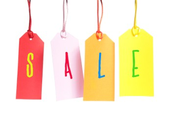 Fundraising ideas, four colorful tags spelling out SALE