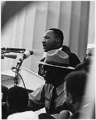 Martin Luther King Jr gives a speech