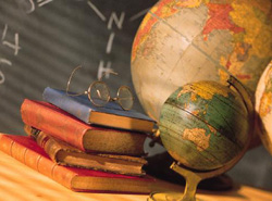 Globes and books