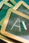 Grade on chalkboard