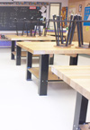 Desks in a classroom