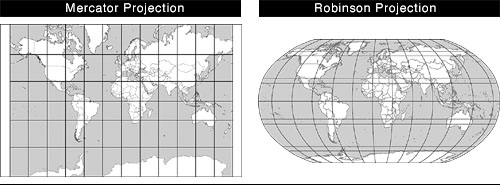 Mercator and Robinson Projections
