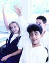 Students raising hands