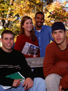Students outside in autumn