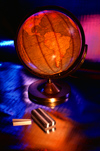 Globe, chalk, and eraser