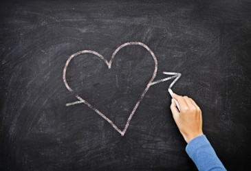 Chalk heart drawn on blackboard