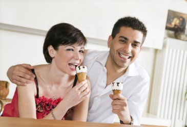 Couple enjoying ice cream together