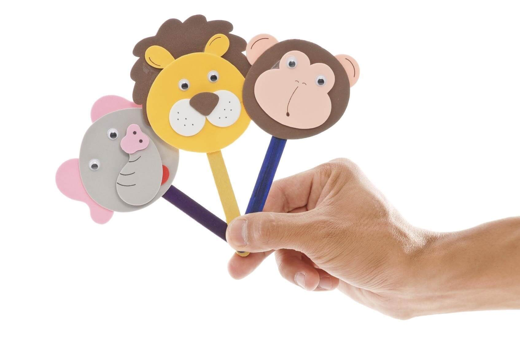 Handmade Craft Stick Animal Puppets