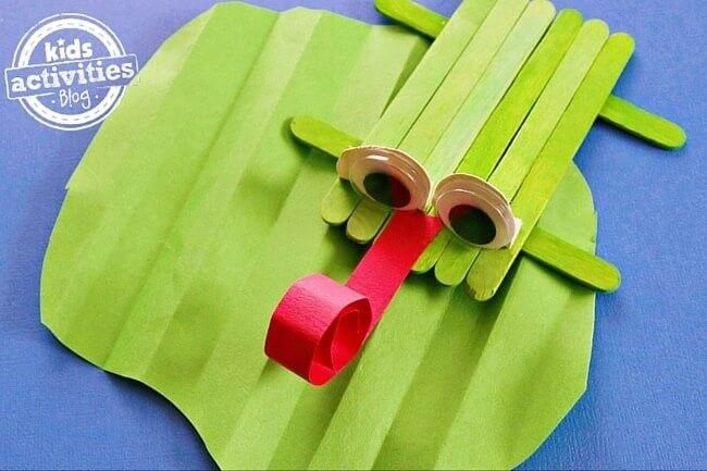 Frog Craft Made Out of Popsicle Sticks