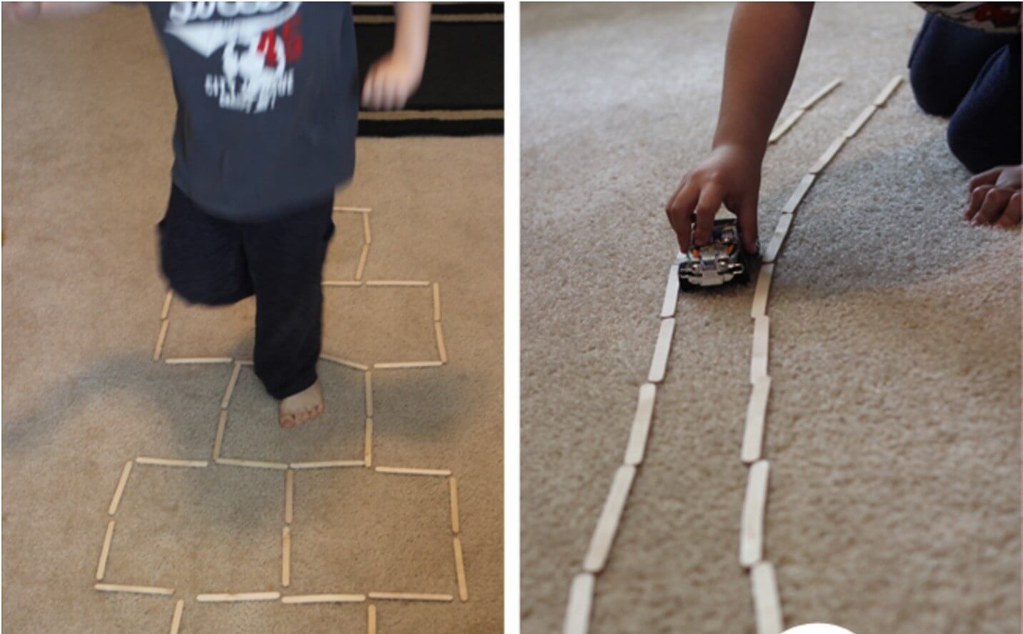 Indoor Hopscotch Using Popsicle Sticks