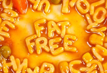 Fat free spelled out in spaghetti