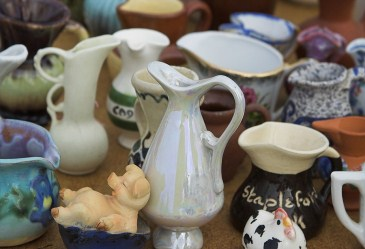 Close up of flea market collectibles
