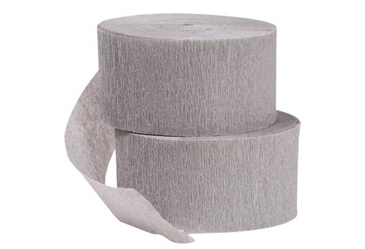 Rolls of gray crepe paper