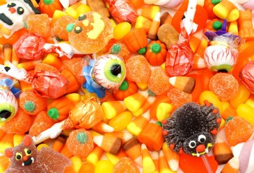 Close up of pile of Halloween candy