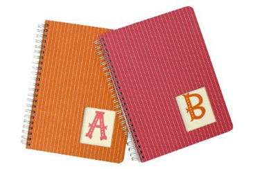 Back to School Folders and Notebooks, personalized initial notebooks from Target