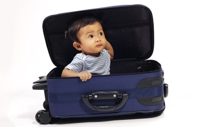 baby in a suitcase ready for travel