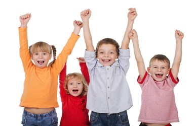 Smiling Kids Cheering with Hands Up