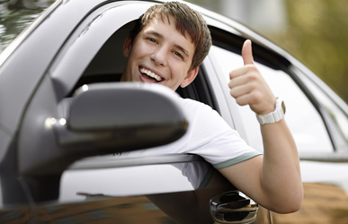 happy teen driving
