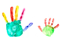 Parent and child handprints