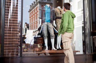 College,Man,WindowShoping