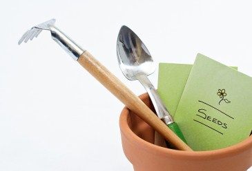 Plant pot and seeds with gardening tools