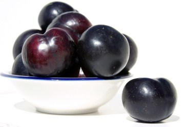 Purple plums in bowl