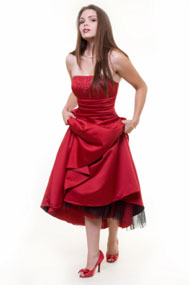 Red Prom Dresses - Halter Bubble Dress