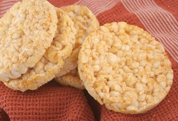 Rice Cakes on checkered background