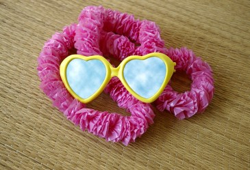 Lei and plastic heart sunglasses