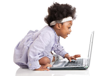 Toddler Using Computer