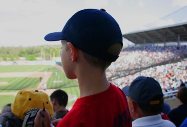 Young boy watching watching live baseball game