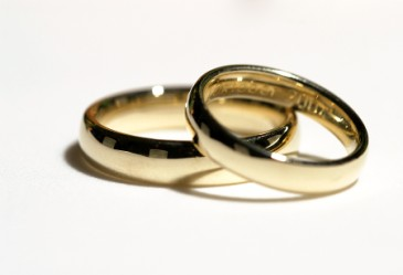 Close up of two wedding gold wedding rings