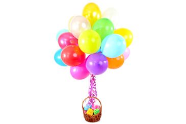 birthday basket with balloons