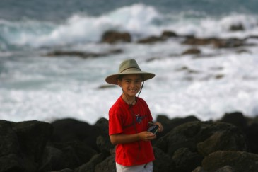 Summer camp essentials, boy in beach hat