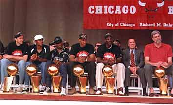 The Chicago Bulls with their trophies