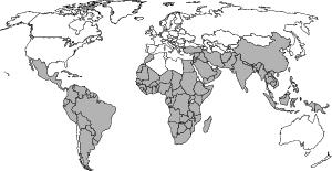 World map showing areas (shaded) where malaria is ever-present, or endemic.