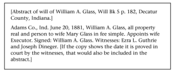 Abstract of the brief will of William A. Glass.