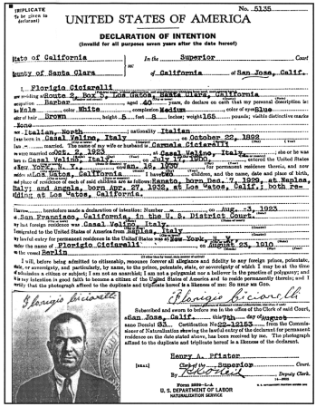 A Declaration of Intention form filed in 1933.
