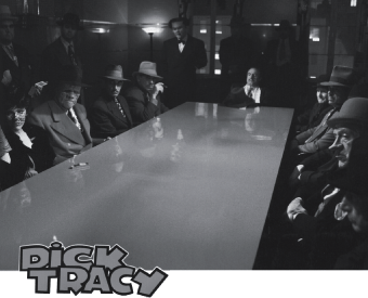 The feeling of Contract negotiations: film still of board meeting of gangsters from Dick Tracy (1990).