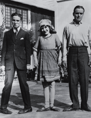 Photo of the United Artists producer/stars: Charlie Chaplin, Mary Pickford, and Douglas Fairbanks.