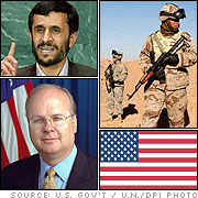 Clockwise from left: Karl Rove, The Statue of Liberty, and the Flag of Iran