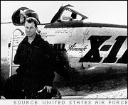 Charles 'Chuck' Yeager stands in front of the X-1A rocket powered research plane