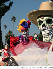 An array of dressed up skeletons on Day of the Dead at the Hollywood Forever Cemetary, in California.