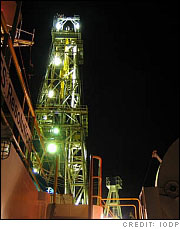 The derrick of the JOIDES Resolution, the scientific drilling ship used to recover the ocean crust.  (Credit: IODP)