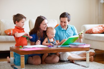 family reading and play time