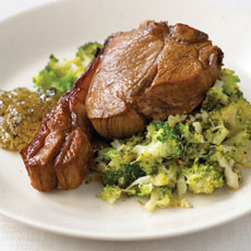 Marinated Lamb Chops with Broccoli in Lemon Juice photo