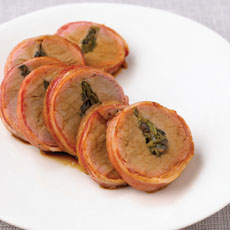 Pork Fillet Stuffed with Olives and Jalape�o Peppers, Wrapped in Bacon photo