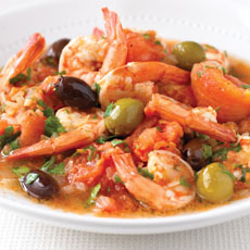 Pan-fried Shrimp, Olives, and Tomatoes photo